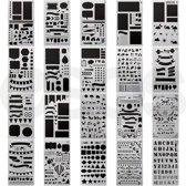 Bullet Journal Stencils - Esos® - 20 stuks - Sjablonen - Handlettering Stencils - Grafische Stencils - 10x18 cm