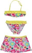 Losan Meisjes Bikini met rokje Geel met bloemen - Maat 98