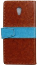 Contrast Color bruin wallet case hoesje Vodafone Smart prime 7