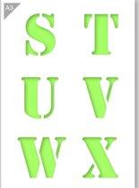 Lettersjabloon - S T U V W X - Kunststof A3 stencil - Kindvriendelijk sjabloon geschikt voor graffiti, airbrush, schilderen, muren, meubilair, taarten en andere doeleinden
