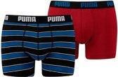 PUMA Rugby Stripe YD Boxershort - 2-pack - Blauw/Rood - Maat XL