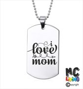 Ketting RVS - I Love Mom