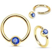 Rook piercing ring plated blauwe steentje
