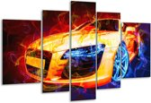 Glasschilderij Audi | Rood, Blauw, Rood | 170x100cm 5Luik | Foto print op Glas |  F004586