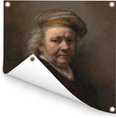 Zelfportret - Schilderij van Rembrandt van Rijn Tuinposter 200x200 cm - Tuindoek / Buitencanvas / Schilderijen voor buiten (tuin decoratie) XXL / Groot formaat!