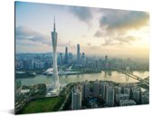 Zonnestralen boven de stad Guangzhou Aluminium 80x60 cm - Foto print op Aluminium (metaal wanddecoratie)