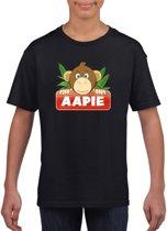 Aapie het aapje t-shirt zwart voor kinderen - unisex - apen shirt XS (110-116)