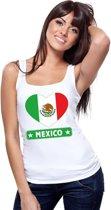 Mexico hart vlag singlet shirt/ tanktop wit dames S