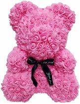 Rozen teddybeer van roze kunstrozen - Valentijnsdag /Moederdag /Verjaardag/ rose bear/ bloemen beer / teddy beer