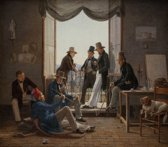 Constantin Hansen : A Group of Danish Artists in Rome (1837) Canvas Print