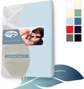 Badstof hoeslaken Superior 160 x 220 cm licht Blauw 24-Bedding