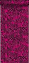 Origin behang zebra's fuchsia roze - 347455