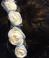 Haarversiering- Diadeem- Ivoren bloemen- kind-