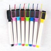 KELERINO. Magnetische whiteboard markers met wisser - 8 kleuren
