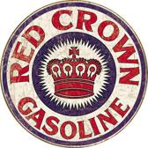 Signs-USA Red Crown Gasoline - Retro Wandbord - Metaal - 30x30 cm