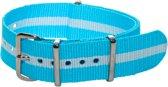 Premium Sky Blue White - Nato strap 18mm - Stripe - Horlogeband Blauw Wit + luxe pouch