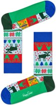 Happy Socks - Happy Holliday Christmas Fair Isle - blauw multi - Unisex - Maat 36-40