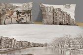 2 persoons dekbedovertrek Amsterdam met fiets - 5027-P (200x200/220 cm + 2 slopen)