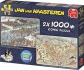 Jan van Haasteren Winter Fun 2in1 Puzzel Elfstedentocht en Nieuwjaarsduik 2x1000 Stukjes