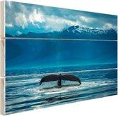 Staart van een grote bultrug walvis Hout 80x60 cm - Foto print op Hout (Wanddecoratie)
