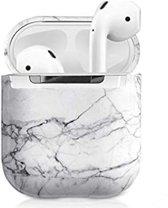 Airpods Marmer Case Cover - Beschermhoes - Wit - Geschikt voor Apple Airpods