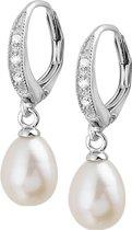 The Jewelry Collection Oorhangers Parel En Zirkonia - Zilver Gerhodineerd