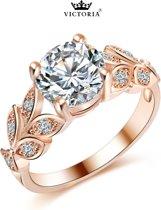Victoria - Rose Goudkleurige Ring - Oostenrijks Bergkristal & Blaadjes - Maat 56 (17.75mm)
