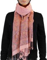 Sjaal 100% Pashmina Zalm Multi Color