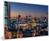 Foto in lijst - Het beroemde Buenos Aires tijdens de avond in Zuid-Amerika fotolijst wit 60x40 cm - Poster in lijst (Wanddecoratie woonkamer / slaapkamer)