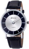 Fako® - Horloge - Geneva - Metal - Zwart