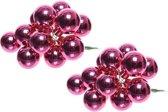 20x Mini glazen kerstballen kerststekers/instekertjes fuchsia roze 2 cm - Fuchsia roze kerststukjes kerstversieringen glas