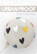 URBAN PROOF Ding Dong - Fietsbel - 80 mm - Hartjes Confetti Grijs