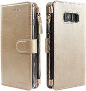 Xssive Wallet Book Case met Ritsvak voor Samsung Galaxy S10e - Book Case - Goud