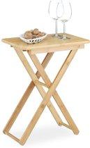 relaxdays bijzettafel - opvouwbaar - tuintafel - vouwtafel - bamboe hout - klapbaar