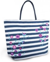 Luna Cove Summer Flowers Strandtas Shopper Canvas Gestreept