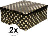 2x Zwart folie inpakpapier/cadeaupapier gouden stip 200 x 70 cm - Inpakpapier/cadeaupapier/geschenkpapier - Cadeautjes inpakken