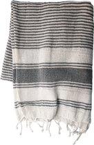 Sahil Hammam handdoek fijn geweven katoen 160 x 90 cm gestreept | GRIJS