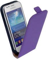 LELYCASE Flip Case Lederen Hoesje Samsung Galaxy Ace 3 Paars