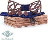 Mr. Bow Tie - Houten vlinderstrik met Manchetknopen en Pochet - Blauw - hout met motief