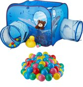 relaxdays 201-delige ballenbak set - speeltent haai - 200 ballen tunnel pop-up kindertent