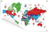 Kleurrijke wereldkaart op een witte achtergrond Tuinposter 60x40 cm