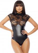Mock Neck Bodysuit - Zwart - S/M