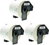 3x Brother DK-11202 zwart op wit voorgestanst verzendlabel – Papier - 62 mm x 100 mm - 300 labels per rol