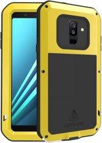 Metalen fullbody hoes voor Samsung Galaxy A6 Plus (2018) / A6+ (2018), Love Mei, metalen extreme protection case, zwart-geel