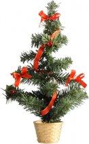 Mini kerstboompje goud/rood 36 cm