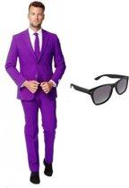 Paars heren kostuum / pak - maat 46 (S) met gratis zonnebril