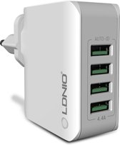 Stekker met 4 USB poorten 5V 4.4A - Travel Adapter