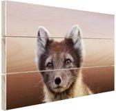 Jonge poolvos Hout 60x40 cm - Foto print op Hout (Wanddecoratie)