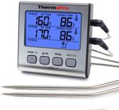 ThermoPro Dubbele Vleesthermometer Digitaal - BBQ Thermometer - Voedselthermometer incl. Batterij - Voor Grill, Barbecue, Rookoven, Oven & Meer