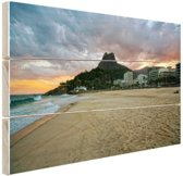 Leblon strand Rio de Janeiro Hout 60x40 cm - Foto print op Hout (Wanddecoratie)